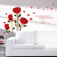 popular red rose wall buy cheap red rose wall lots from china red hot new art decor diy romantic delightful backgroud red rose wall sticker mural decal living room