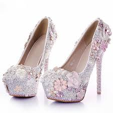 Wedding Shoes 2017 Aliexpress Com Buy Rhinestone Flower Pink Wedding Shoes Stiletto