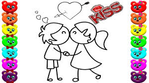 happy and boy with love and kiss coloring books how to draw