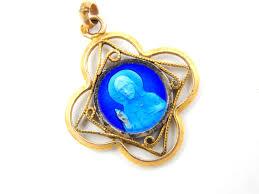 catholic supplies vintage sacred heart of jesus blue enamel catholic medal
