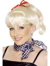blonde ponytail wig u0026 ribbon 1950 u0027s sandy grease fancy dress