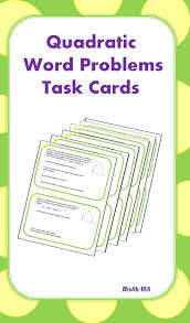 quadratics word problems task cards word problems equation