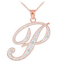 gold necklace with letter images Rose gold letter script quot p quot diamond initial pendant necklace jpg