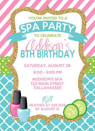 party invitation birthday invites brilliant spa birthday party invitations design