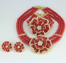 red necklace earring set images 3 layer red beads jewellery set with brooch pendant necklace jpg