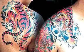 color ink japanese tiger on shoulder