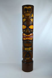 buy carved 3 ft skull and cross bones tiki totem pole statue