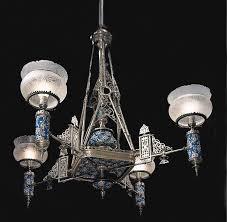 silverplated anesque gasolier with longwy mounts mitc vance company new york c victorian chandeliersantique lightingdollhouse ideas