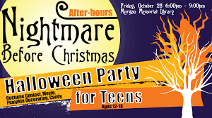halloween party for teens after hours nightmare before christmas party for teens events in