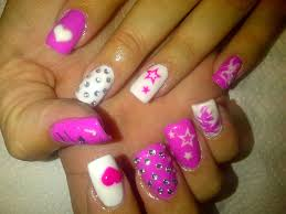 general complex pink white nail art design with polish motif and