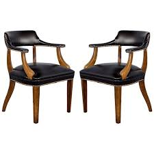 Library Chair Pair Of Banker U0027s Library Chairs Restored In Black Leather For Sale