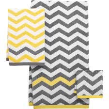 Gray And Yellow Chevron Shower Curtain by Mainstays Chevron Decorative Bath Towel Collection Walmart Com