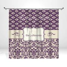 purple damask personalized custom shower curtain monogram with