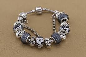 skull bracelet charm images European style silver plated skull bracelet bangle for women jpg