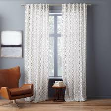 cotton canvas diamond stripe curtains set of 2 slate west elm uk