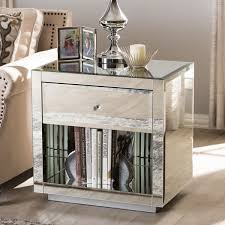 Silver Mirrored Nightstand Mirrored Night Stand Classic Style Home Decoration With