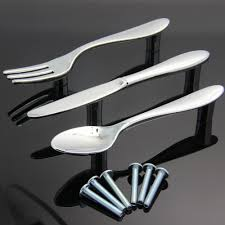 Chrome Kitchen Cabinet Handles Twinklefilter Pack Of 3 Knife Spoon Fork Kitchen Cabinet Closet