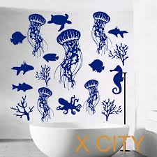 online get cheap nautical wall murals aliexpress com alibaba group fish wall decal sea shell art jellyfish vinyl bathroom stickers shower baby nautical nursery bedroom home decor art murals