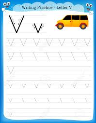 preschool lined writing paper writing practice letter v printable worksheet with clip art writing practice letter v printable worksheet with clip art for preschool kindergarten kids to improve