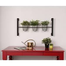kate and laurel groves indoor herb garden black metal hanging wall