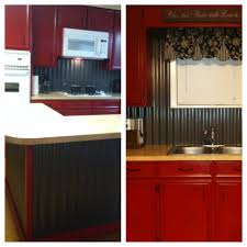 corrugated tin backsplash u0026 island w barn red cabinets our diy