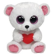 ty beanie boos sweetly white bear heart glitter eyes