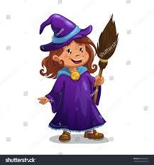 little witch cute cartoon halloween stock vector 209500351