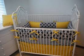 Blue And Yellow Crib Bedding Yellow Toile Baby Nursery Bedding Set In An Antique White Crib
