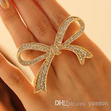 big finger rings images 2018 fashion bowknot bow diamond opening nail rings jewelry jpg