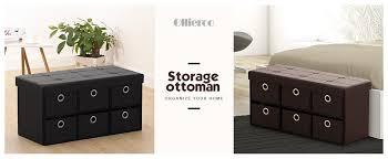 amazon com ollieroo pu leather foldable ottoman storage bench