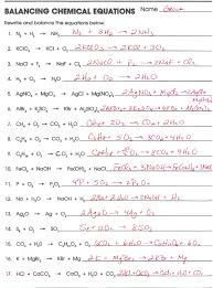 balancing chemical equations worksheet answer key printable