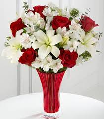 roses and lilies celebrations bouquet with roses and white lilies png