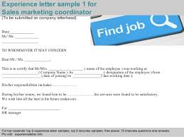 sample resume for marketing coordinator sales marketing coordinator experience letter
