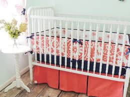Navy And Coral Crib Bedding Tushies And Tantrums Boutique Crib Set Coral And