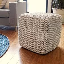 Woven Pouf Ottoman Upholstered In Woven Jute This Stylish Cube Ottoman Offers A