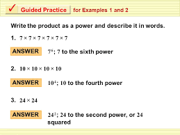 describe it exle 1 writing powers write the product as a power and describe