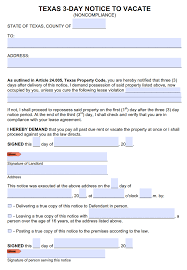 Termination Of Lease Letter Free Texas 3 Day Notice To Cure Or Quit Noncompliance Or Lease