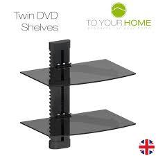 black floating single double triple glass shelves wall mount
