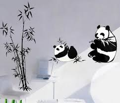 Best Discount Home Decor Websites High Quality Panda Wall Decals Cartoon Roaming In Bamboo Home