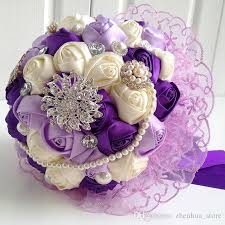 wedding bouquets online hot 2015 wedding bouquet purple flowers with lace decoration