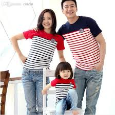 wholesale family clothing cotton t shirts with striped family