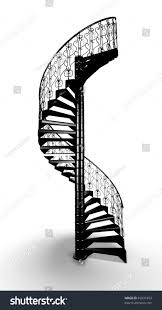 black forged spiral stair on white stock illustration 69231853