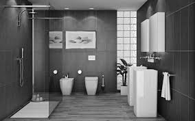Gray Tile Bathroom - black ceramic freestanding sink and water closet on gray ceramic