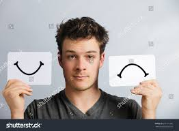 portrait man holding happy unhappy survey stock photo 267371366