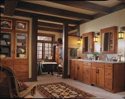 Craftsman Bathroom Vanities by A Mission Style Bathroom With Oak Cabinentry In Autumn Blush