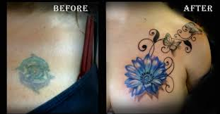 Tattoo Cover Up Ideas For Back Before And After Tattoo Cover Up Tattoo Blue Flower Tattoo Done