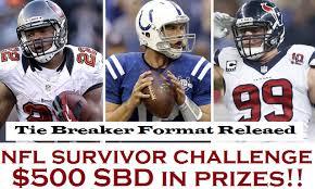 Challenge Tie Nfl Survivor Challenge Tie Breaker Format Released 500 Sbd In