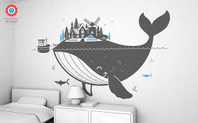 whale island xxl wall decal nursery kids rooms wall decals kids whale island wall decals xxl