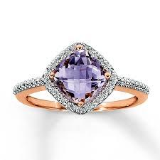 rose gold amethyst diamond ring jared pink amethyst ring 1 10 ct tw diamonds 10k rose gold