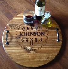personalized serving dish personalized serving tray wood serving tray wine barrel tray